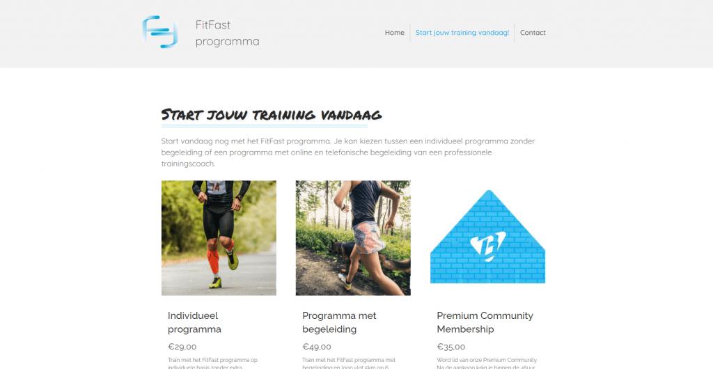 Website voor het verkopen van trainingsprogramma's van een personal trainer