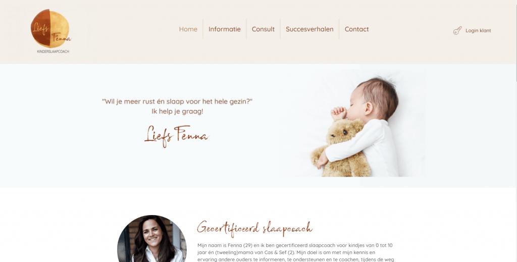 Portfolio: Liefs Fenna: website voor slaapcoach