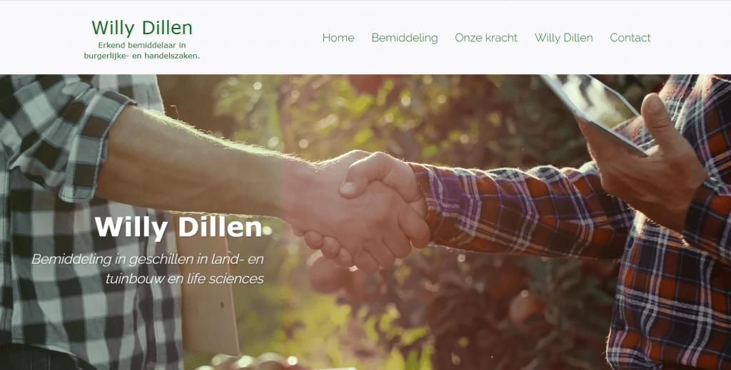 Portfolio: https://willydillen-bemiddeling.be/ Een one page website in WordPress voor een bemiddelingsbureau